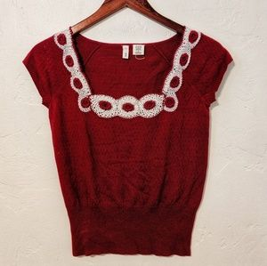 Anthropologie Red Crochet Top